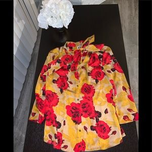 Preowned Anne Klein red roses bow blouse